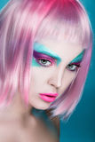 Closeup Portrait of Puppet Creative pink and serenity face-art o Royalty Free Stock Image