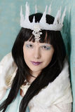 Closeup portrait queen with ice crown Royalty Free Stock Image