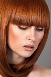 Closeup portrait of red haired woman stock image