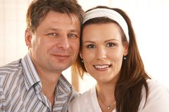 Closeup portrait of romantic couple Royalty Free Stock Photos