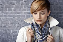 Closeup portrait of sad young woman, looking down Stock Photography