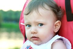 Closeup portrait of sadness baby Royalty Free Stock Image