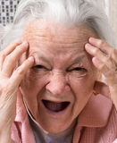 Closeup portrait of scared old woman Royalty Free Stock Photography