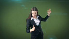 Closeup portrait screaming business woman raising hands in the air attack with kung foo chop. Royalty Free Stock Photo