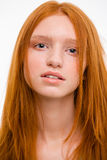 Closeup portrait of sensual beautiful natural redhead woman Royalty Free Stock Photos
