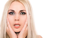 Closeup portrait of sensual young blonde. Isolated Royalty Free Stock Photography