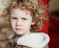 Closeup portrait of serious caucasian girl Royalty Free Stock Photo