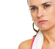 Closeup portrait of serious fitness young woman Royalty Free Stock Image