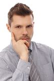 Closeup portrait of serious man Stock Photos
