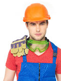 Portrait of serious worker in uniform Royalty Free Stock Photos