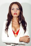 Closeup portrait of sexual brunette woman Stock Image