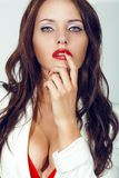 Closeup portrait of sexual brunette woman Royalty Free Stock Photo