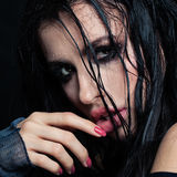 Closeup Portrait of Brunette Model. With Wet Hairstyle royalty free stock photo
