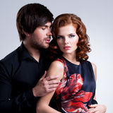 Closeup portrait of sexy couple in love. Stock Image
