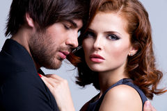 Closeup portrait of sexy couple in love. Stock Photography