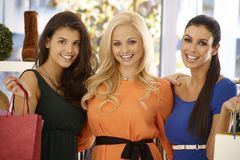 Closeup portrait of shopping beauties Royalty Free Stock Photos
