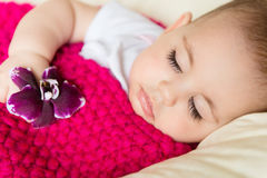 Closeup portrait of sleeping baby Stock Photos