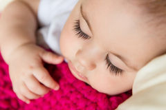 Closeup portrait of sleeping baby Stock Photo