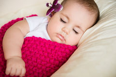 Closeup portrait of sleeping baby Stock Photography