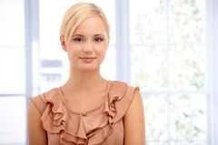 Closeup portrait of smart blonde smiling Royalty Free Stock Image