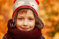 Portrait Smiling boy in the funny hat in autumn day. Stock Photos
