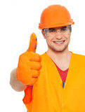 Portrait of craftsman with thumbs up sign Stock Photo