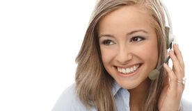 Closeup portrait of smiling dispatcher Stock Photography