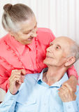 Closeup portrait of a smiling elderly couple Royalty Free Stock Image
