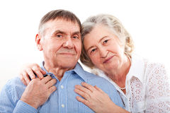 Closeup portrait of smiling elderly couple stock photo