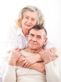 Closeup portrait of smiling elderly couple Stock Photo