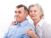 Closeup portrait of smiling elderly couple royalty free stock image