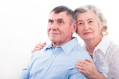 Closeup portrait of smiling elderly couple royalty free stock photography