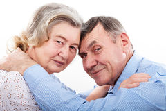 Closeup portrait of smiling elderly couple Royalty Free Stock Photo