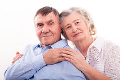 Closeup portrait of smiling elderly couple Royalty Free Stock Image