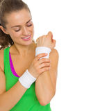 Closeup portrait of smiling fitness young woman Stock Image