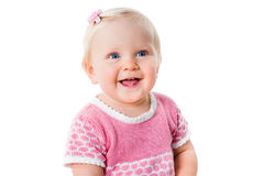 Closeup portrait of smiling infant girl isolated. On white background Royalty Free Stock Images