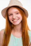 Closeup portrait of smiling lovely girl in boonie hat Stock Photography