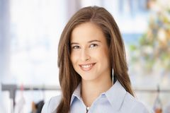 Closeup portrait of smiling woman Stock Photos