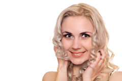 Closeup portrait of smiling young blonde Stock Image