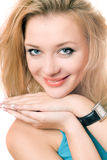 Closeup portrait of a smiling young blonde Royalty Free Stock Images