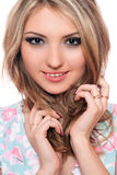 Closeup portrait of smiling young blonde. Isolated Royalty Free Stock Image