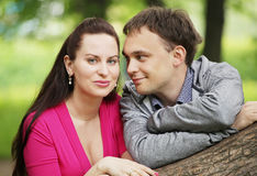 Closeup portrait of smiling young couple in love Stock Images