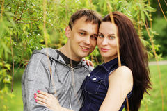 Closeup portrait of smiling young couple Royalty Free Stock Image