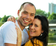 Closeup portrait of smiling young couple Royalty Free Stock Photo