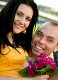 Closeup portrait of smiling young couple Royalty Free Stock Photos