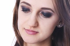 Closeup portrait with smoky eyes makeup Royalty Free Stock Photography