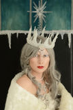 Closeup portrait snow queen on throne Stock Photography