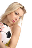 Closeup portrait of soccer fan girl Royalty Free Stock Photo