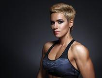 Closeup portrait of sporty beautiful woman Stock Image