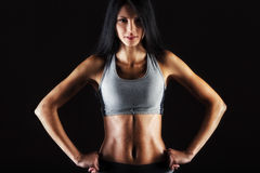 Closeup portrait of sporty woman Royalty Free Stock Photos